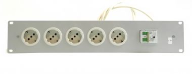 19-inch 2RU unit with 5x 230V connectors and one double fuse switch | SF233